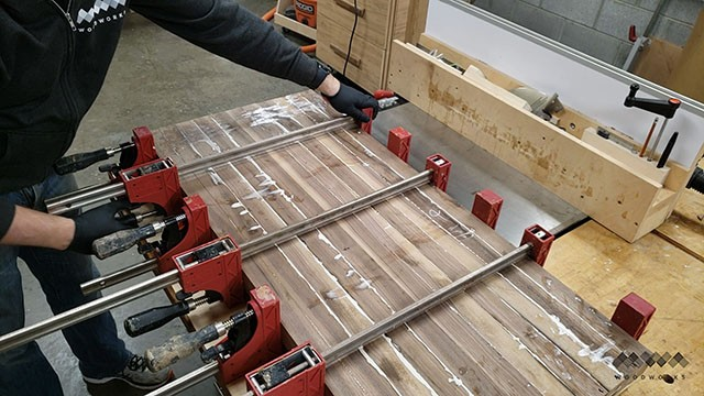 clamping butcher block strips