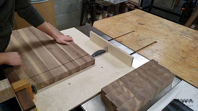 cutting end grain strips
