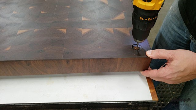 adding feet to the butcher block