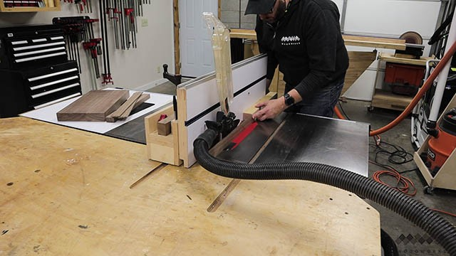 cutting strips at table saw
